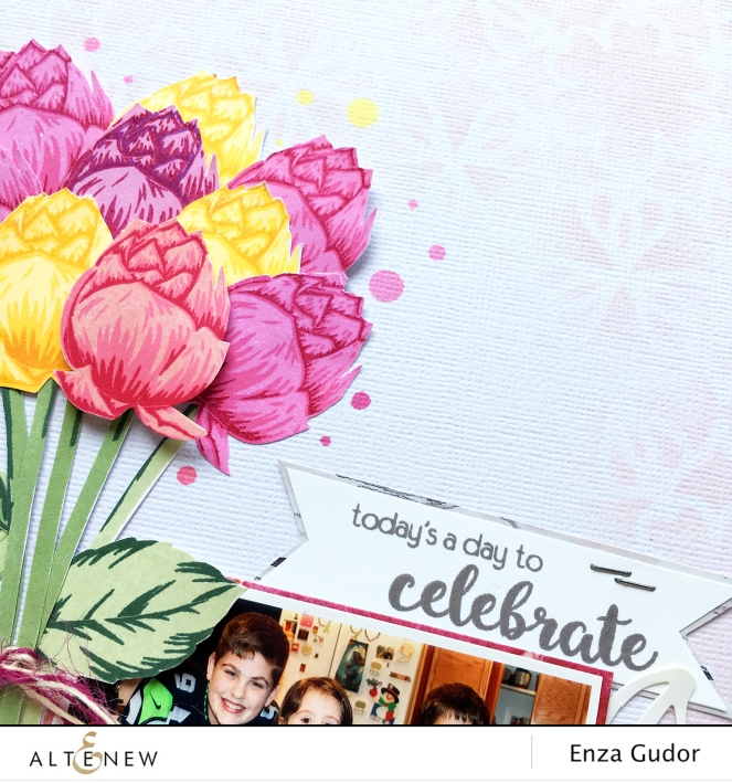 Birthday layout with a mix of stamp sets @Altenew @enzamg #AltenewBlissfulBud #stamping