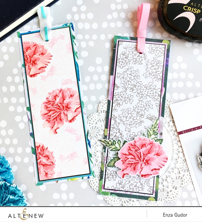 Altenew - BAF Carnation - Enza Gudor - Bookmarks
