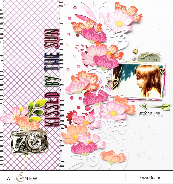 Scrapbook layout for @Altenew by @enzamg featuring Stunning Cosmos stamp set.