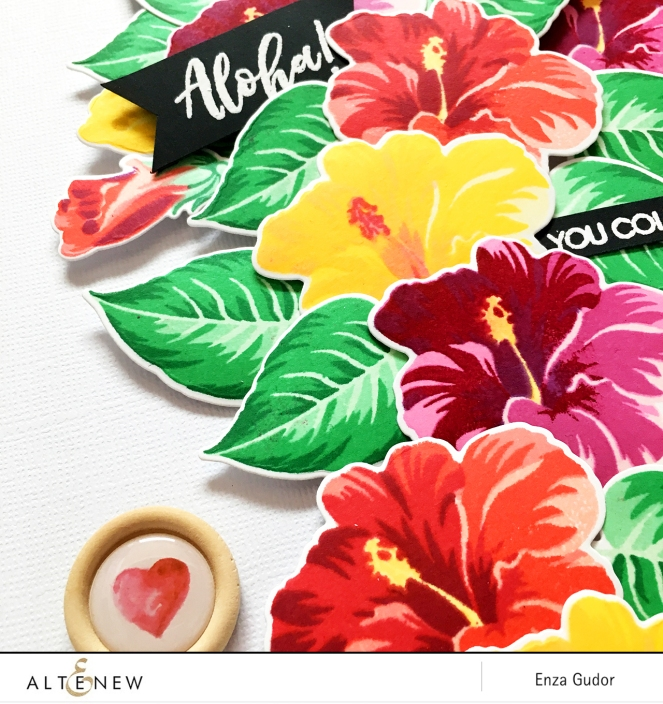 Tropical layout created by @enzamg with the @altenew #bafhibiscus set #stamping #scrapbooking
