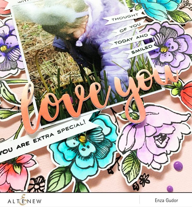 Layout with Botanical Garden Stamp Set by @enzamg for @Altenew. #stamping #coloring #scrapbooking #layout