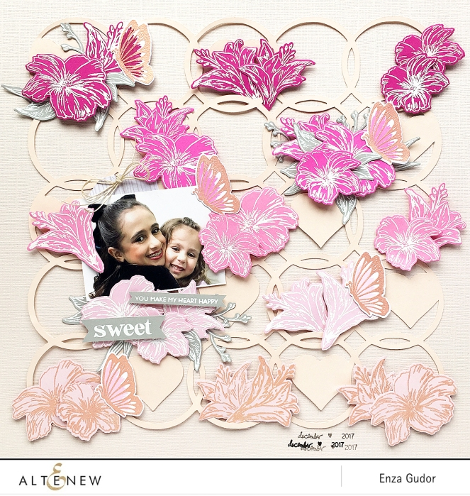 Floral layout by @enzamg for @altenew featuring the Happy Heart Stamp and Die set. #stamping #scrapbooking #flowers