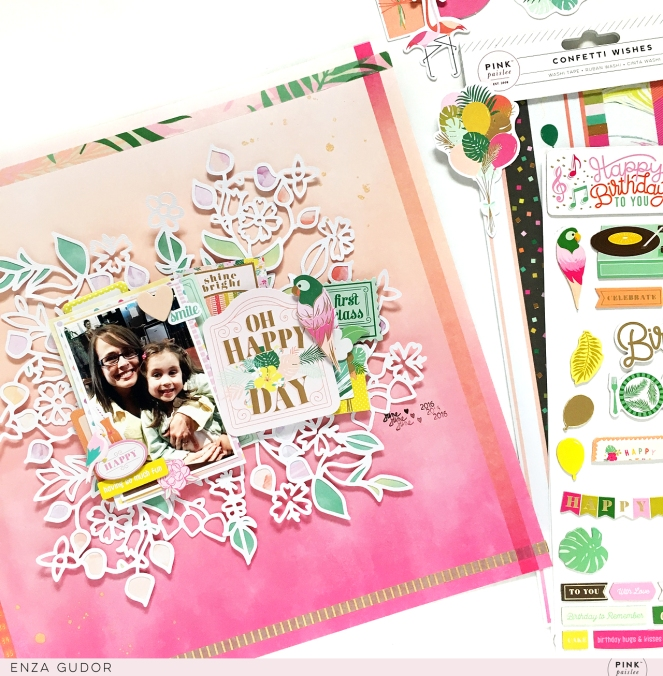Pastels layout by @enzamg for @pinkpaislee with #ppconfettiwishes. #scrapbooking #pastels #layout