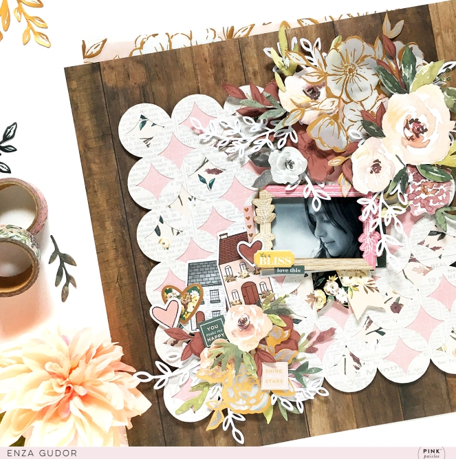Floral layout by @enzamg with @pinkpaislee Auburn Lane collection. #ppauburnlane #layout #floral #scrapbooking
