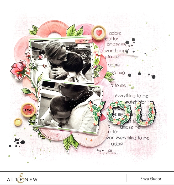 """You"" layout by @enzamg for @altenew using #AltenewBotanicalYou #AltenewFineCirclesDie #AltenewRusticLinen #scrapbooking #floral #mixedmedia #stamping"