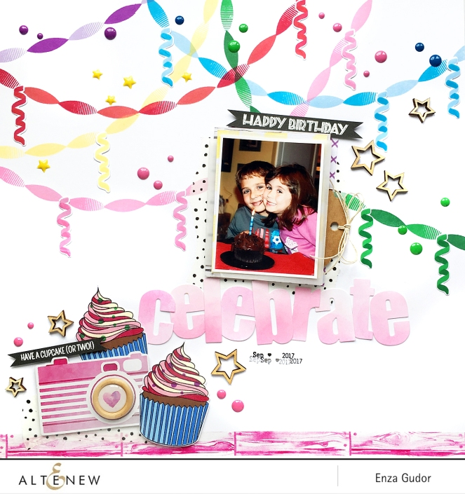 Festive layout by @enzamg for @Altenew using #altenewpartytime and #altenewlayeredcupcake stamp set.