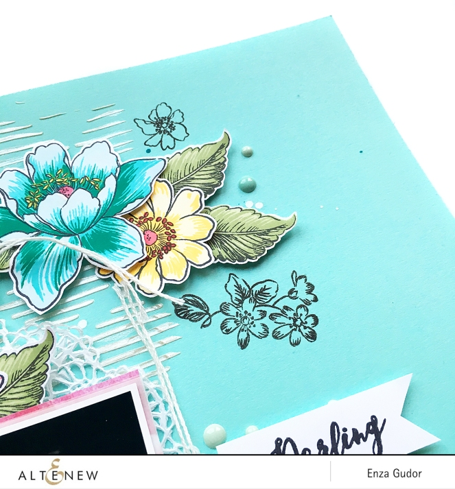 Floral layout by @enzamg for @Altenew using the Garden Treasure stamp set. #scrapbooking #stamping #layout