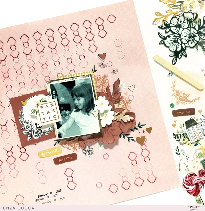 Hand-stitched background layout by @enzamg for @pinkpaislee. #scrapbooking #layout #handstitching