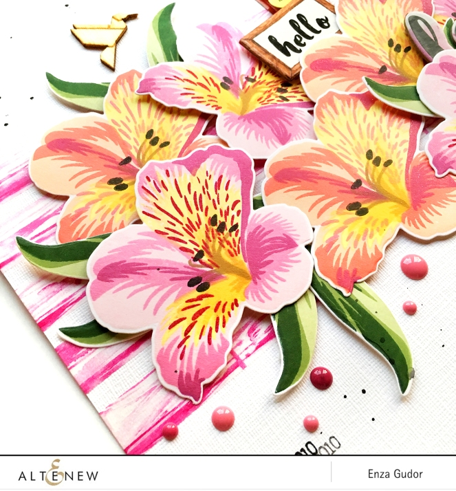 Layout by @enzamg for @Altenew using the Build-A-Flower: Peruvian Lily stamp set. #altenewbuildaflower #stamping #peruvianlily #layout #scrapbooking