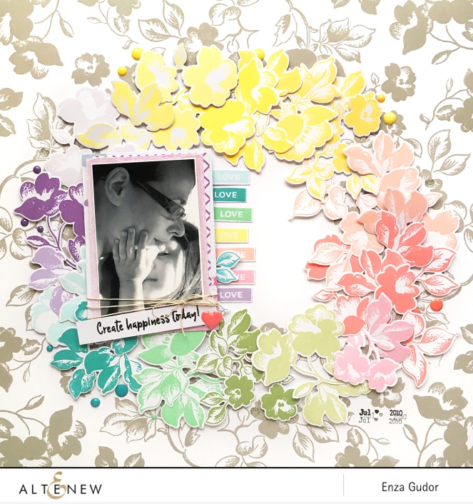 Rainbow layout by @enzamg for @Altenew using the Frosted Garden Stamp Set. #scrapbooking #altenew #rainbow #layout