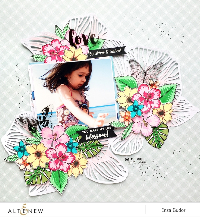 Tropical layout by @enzamg for @altenew using Totally Tropical and Parrot Paradise stamp sets. #scrapbooking #tropical #stamping