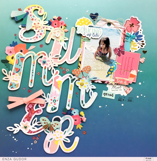 Summer Layout by @enzam for @pinkpaislee using the Pick-Me-Up collection and a cut file by @paigetaylorevans. #scrapbooking #layout #cutfiles #summer