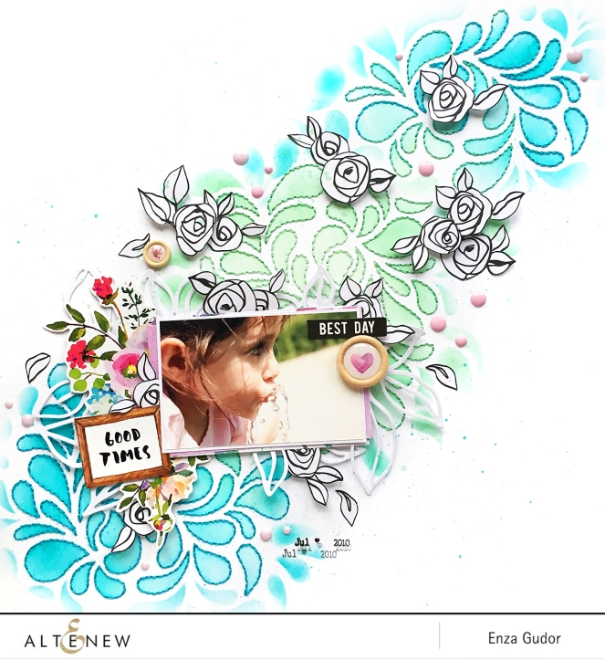 Layout by @enzamg for @Altenew using the Flowing Drops Stencil. #scrapbooking #Altenew #stencil #handstitching