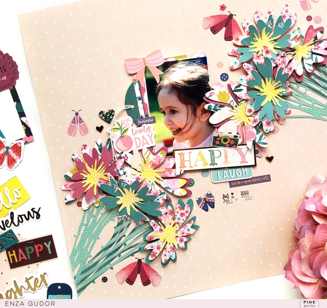 Cut file inspired layout by @enzamg for #pinkpaislee using #pppickmeup. #scrapbooking #layout #flowers #cutfiles