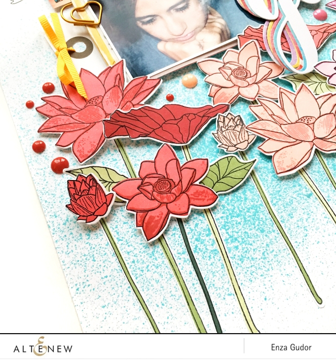 Rainbow Flowers Layout by @enzamg for @altenew. #scrapbooking #stamping #flowers #altenew