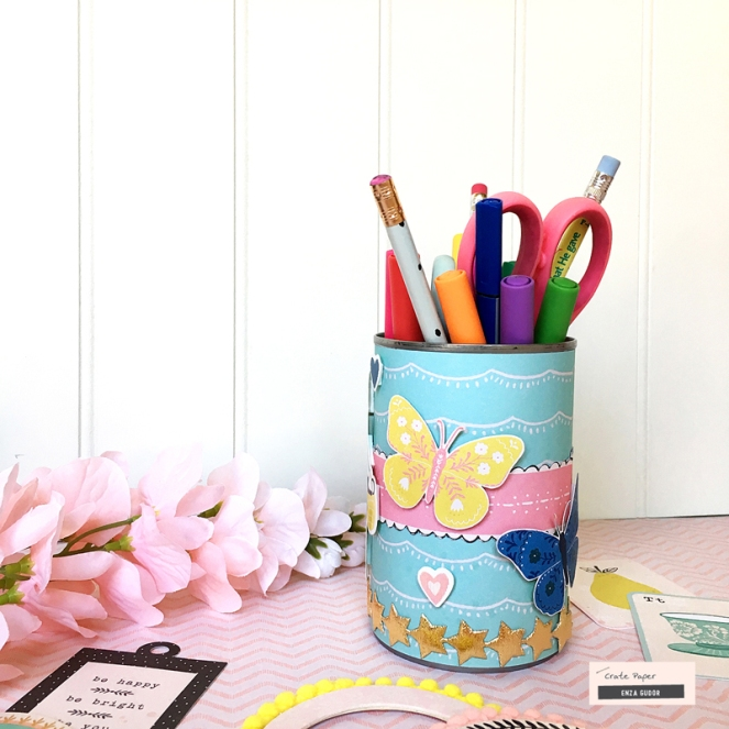 Pencil Holders by @enzamg for @cratepaper using the Willow Lane collection. #cratepaper #cpwillowlane #pencilholders #diy #backtoschoolcrafts