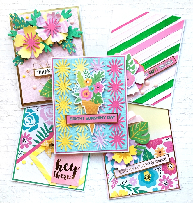 A set of cards by @enzamg for @spellbinders with August Monthly Card Kit. #spellbinders #cards #cardmaking #summercards #handmadecards