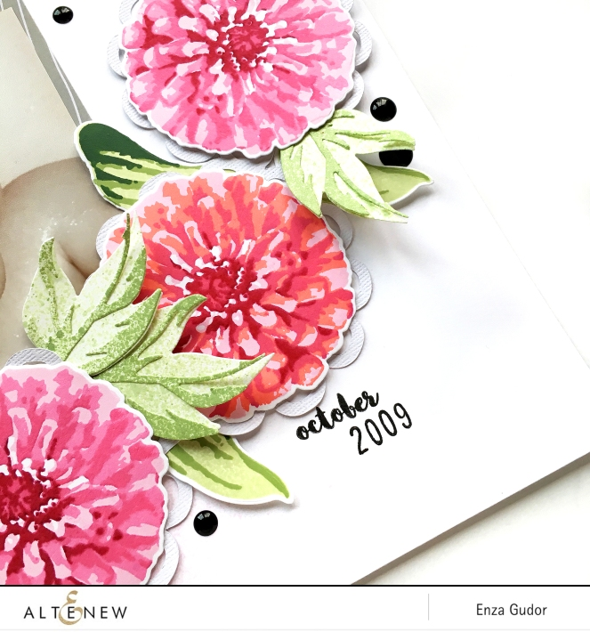 Layout by @enzamg for @altenew using BAF: Flourishing Zinnia. #altenew #scrapbooking #stamping #baf