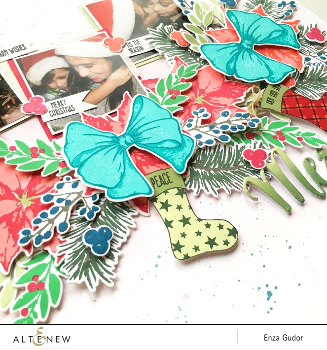 Christmas layout by @enzamg for @altenew using Holiday Bow and Christmas Stockings Stamp Sets. #stamping #christmas #scrapbooking