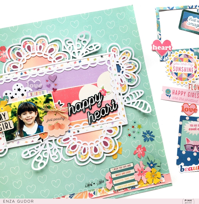 Happy Heart Layout by @enzamg for @pinkpaislee using the Wild Child collection. #pinkpaislee #ppwildchild #scrapbooking