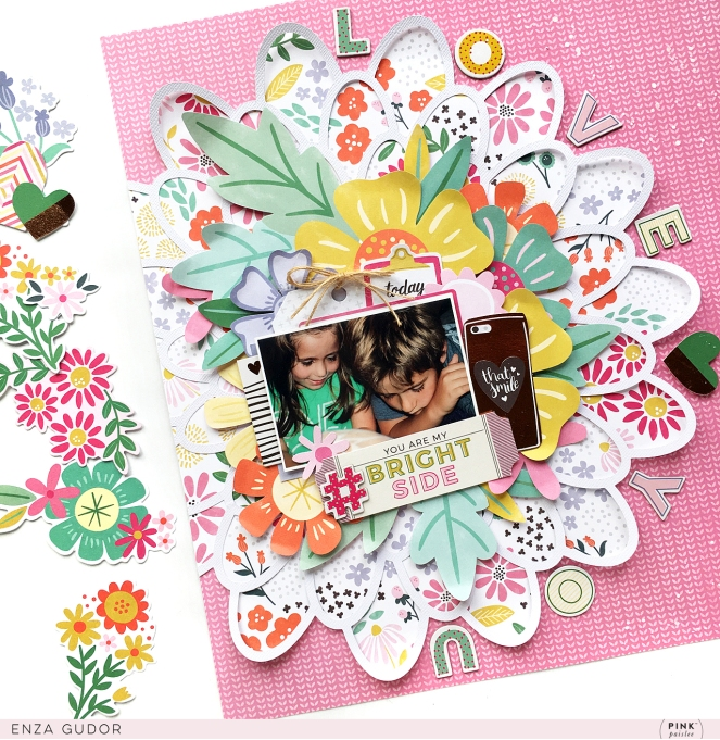 Bringing back an older collection can be fun and exciting like the first time! Take a look at this layout created with the Oh My Heart collection! By @enzamg for @pinkpaislee using #ppohmyheart. #scrapbooking #cutfiles #flowers