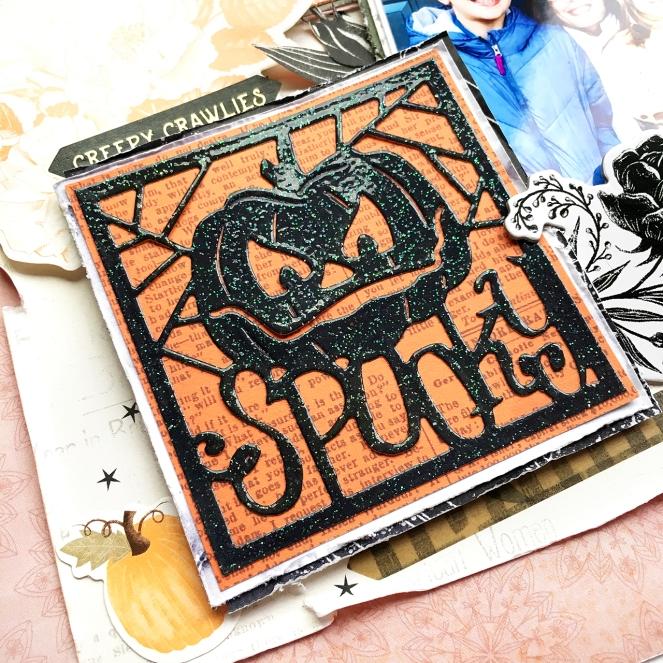 Halloween layout with Spellbinders Large Die of the Month by @enzamg for @Spellbinders. #spellbinders #neverstopmaking #halloween #largedieofthemonth #scrapbooking