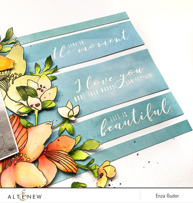 Mixed media layout by @enzamg for @Altenew using the #SketchyFloral stamp set. #altenew #scrapbooking #mixedmedia