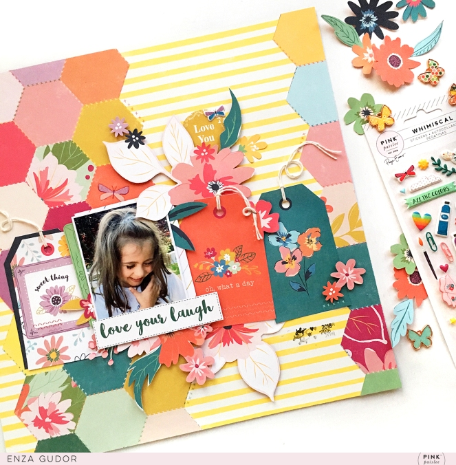 Layout by @enzamg for @PinkPaislee using #ppwhimsical collection. #pinkpaislee #whimsical #scrapbooking