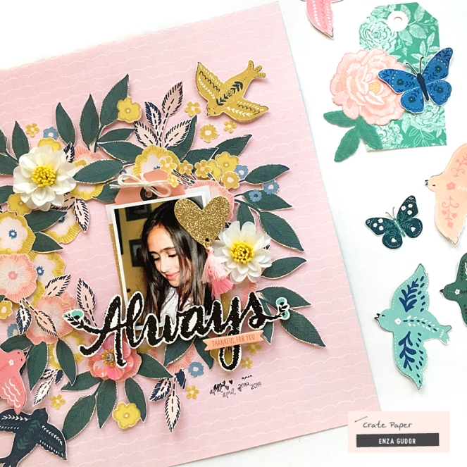 Fussy cut layout by @enzamg for @cratepaper using #cpflourish collection. #cratepaper #scrapbooking #fussycutting