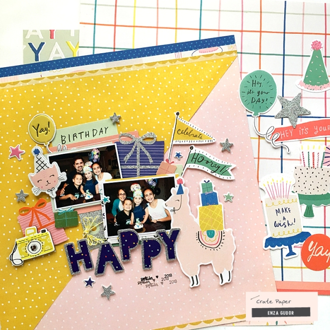 Hooray! layout by @enzamg for @cratepaper. #cratepaper #scrapbooking #birthdaylayout