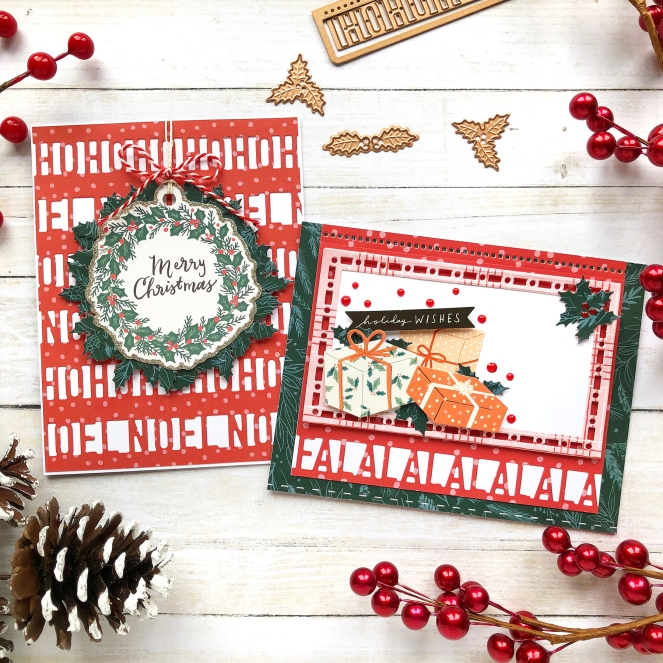 Christmas cards by @enzamg for @Spellbinders using A Charming Christmas collection. #cards #cardmaking #spellbinders #diecutting