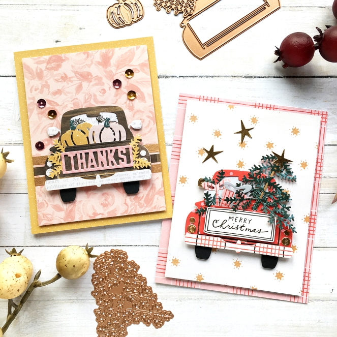 Cards by @enzamg for @spellbinders using the October 2018 Large Die of the Month. #spellbinders #christmas #fall #cardmaking #diecutting #handmadecards #cards