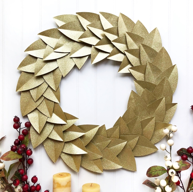 Gold Glitter Wreath by @enzamg for @DCWV and @joann. #diy #handmade #christmas #holidays