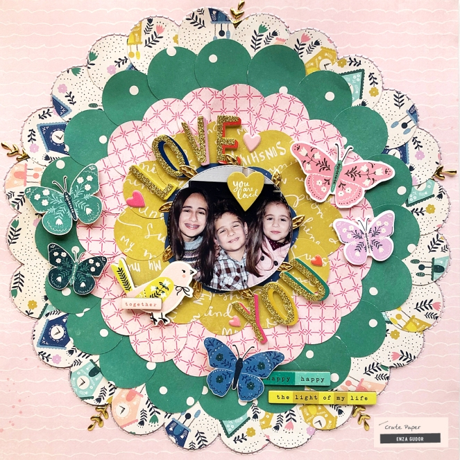 Circle backdrop layout by @enzamg for @cratepaper. #cratepaper #scrapbooking
